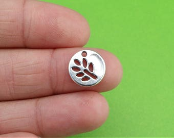 8 Small Silver Leaf Nature Charms (CH188)