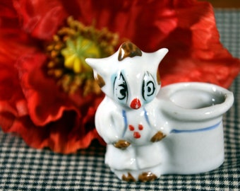 Quirky owl toothpick holder-tiny porcelain owl-made in Japan