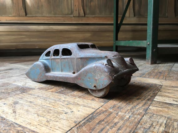 1930s Marx Mystery Car, Vintage Mystery Car Toy, Marx Press and Go Mobile, Antique Pressed Steel Toy