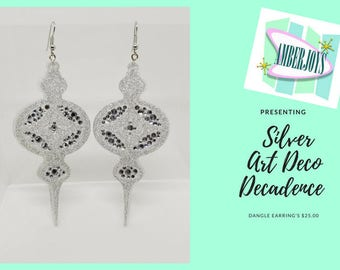 Silver Art Deco Decadence Dangle Earring's - Large