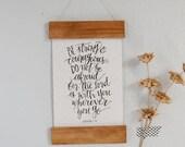Wood Rail Art Print on Handmade Paper -Joshua 1:9 - Bible Art - Be Strong and Courageous - Calligraphy Wall Art - Home Decor - Scripture Art