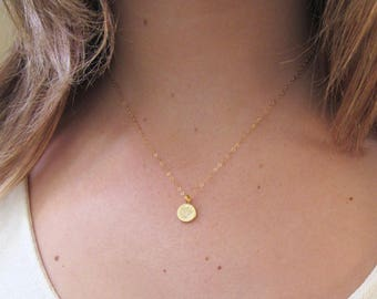 Lotus Disc Necklace, Gold Vermeil or Sterling Silver, Matte Disc Necklace, Gold Lotus Necklace - 14K Gold Fill or Sterling Silver Chain