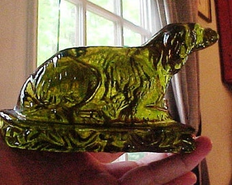 Antique Dog, Molded Glass Nailsea Green Fireside Ornament, End of Day, Whimsy