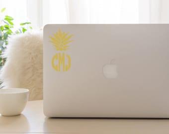 Pineapple decal sticker, monogram sticker, pineapple monogram, pineapple decal, pineapple monogram, monogram decal, pineapple monogram decal