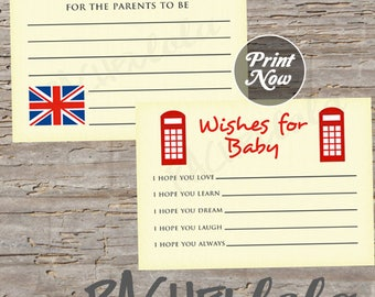 British, Advice Cards baby shower game, advice and well wishes, wishes for baby, london, printable template, instant digital download