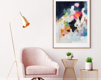Eliza, Large Giclee Abstract Print, 9x12 -30-40in, pink abstract, blue abstract