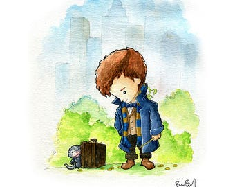Newt Scamander Fantastic Beasts Fan Art Watercolor Print