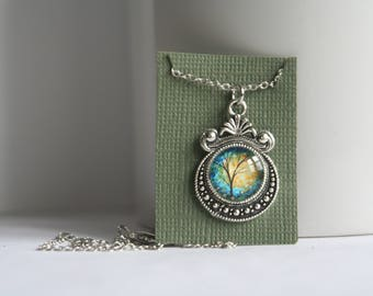 1 Inch Charm 1/2 Inch Glass Cabochon Tree Branches Necklace
