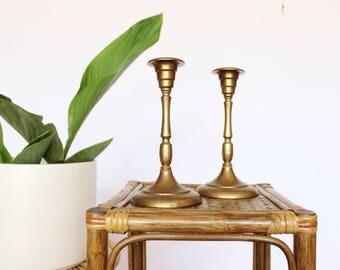 Vintage Brass Candlestick Set Pair of Gold Toned Candlestick Holders Mid Century Modern Art Deco Candlesticks