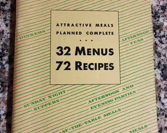 Vintage Cookbook: Rumford Baking Powder 32 Menus 72 Recipes/ 1931 Rumford Baking Powder Recipe Booklet