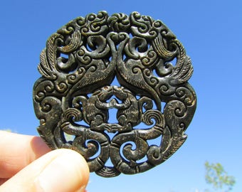 """Jade Mandala """"Dragons & Kissing Rats"""" - Chinese Black Jade Intricate Carving, Double Sided """"Old Jade"""" Mandala - Large Carved Necklace Stone"""