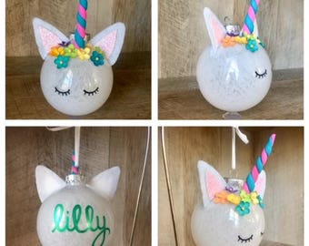 Unicorn Ornament, Personalized Ornament