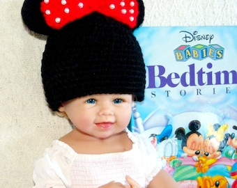 Minnie Mouse Hat / Ears, Red Bow with Faux Pearls, Newborn to Teen Crochet Hat
