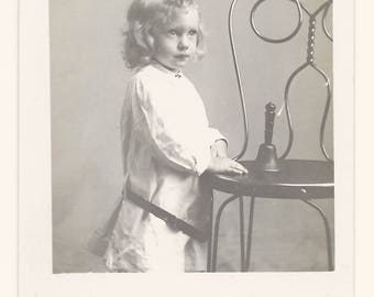 Girl with Ice Cream Parlor Chair Photo Postcard, c. 1910