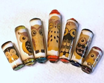 Paper Beads -Burnished Owls