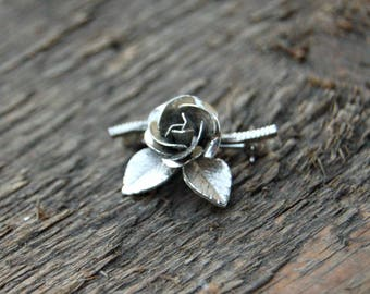 Silver Rose Brooch, Rose Pin, Silver Flower Pin, Silver Tone Flower Brooch, Mother's Day Gift, Gift for Mom, Single Rose Brooch, For Her