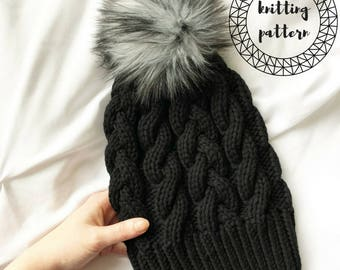 The Effie Beanie- Knitting pattern slouchy // fitted hat instant download PDF file, cable knit hat pattern