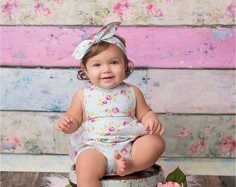 Zoey's Garden Blue Ruffled Bubble Romper - Infant Toddler Child - Blue & Pink Roses - Vintage-Style Romper Ruffled Sunsuit - Photo Prop