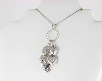 Sterling Silver Puffy Heart Charm Pendant Antique Art Deco