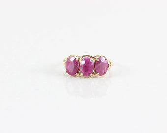 10k Yellow Gold Natural Ruby Ring Size 8 1/4