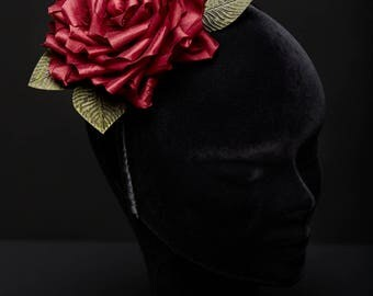 Red Silk Satin Rose Headband - Passion Headdress Floral adornment Green Leaves Unique Piece