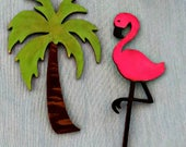 Pink Flamingo & palm tree ornaments_beach decor ornaments