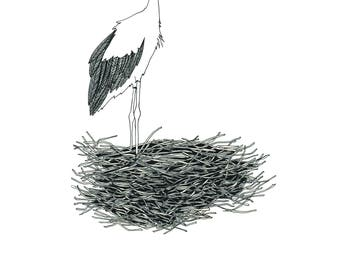 Stork printable illustration. Wall art decor. Poster