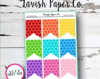 Full Box Flags (Hexagons) Planner Stickers by Lavish Paper Co. | for Erin Condren, Happy Planner, Mormon Mom, inkWell Press, SewMuchCrafting