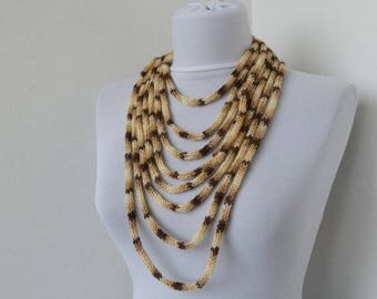 Knit Scarf Necklace, Loop scarf, Infinity scarf, Neck warmer, Knit scarflette, in cream and beige E139