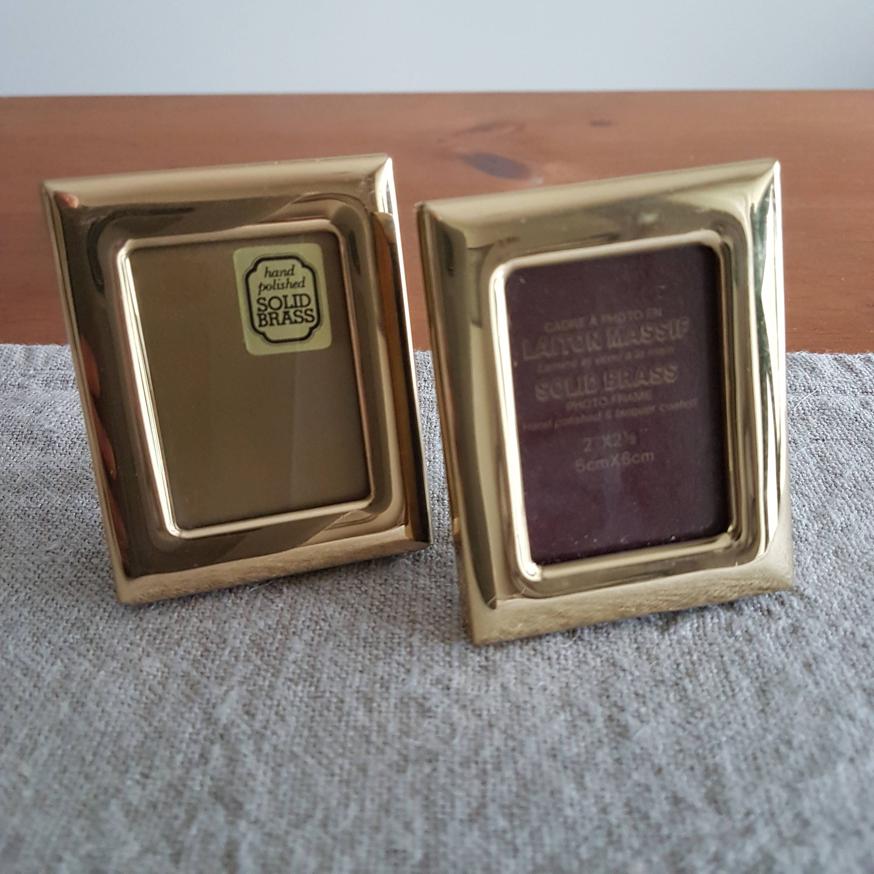 Lot of 2 miniature solid brass picture frames wallet size photos sold by bluechickenvintage jeuxipadfo Images