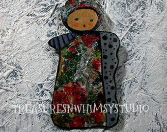Paper Art Ornaments, Bookmarks, Gifts. Handmade OOAK, Mixed Media, Holiday Gift