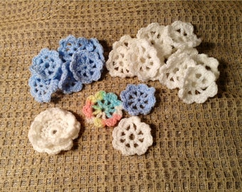 24 Vintage Hand Crochet Flowers - Handmade Roses, Rosettes - White, Blue - Sew On Embellishments, DIY Crafts - Easter, Springtime