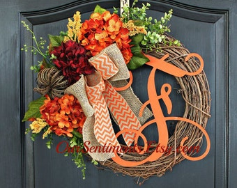 Fall Wreaths- Hydrangea Wreaths - Wreaths for fall - Hydrangea wreath - Wreaths for door - Wreaths Autumn Wreath