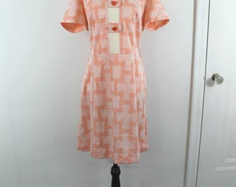 Vintage 60s orange and white secretarial office dress, x-large
