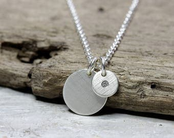 925 silver necklace with two round pendants, 12mm and 7mm and diamond, stone, necklace with small diamond