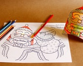 COLOR-ME Santa Claus DIY Printable Gift Box for Christmas / Activity Coloring Party Favor Box Papercraft Xmas Holiday   Letter A4 download
