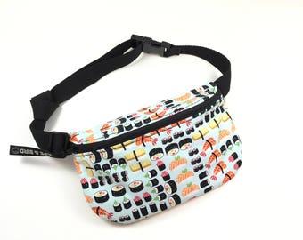 waist bag, belly bag, bum bag, hip bag, utility bag, fanny bag, vegan bag, small bag , womens bag, concert bag, handmade bag, cute bag,sushi