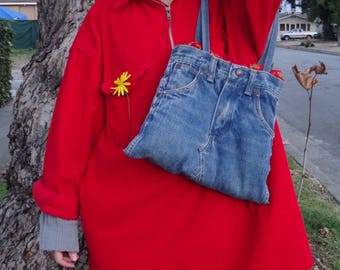 Alternative Asian print Upcycled denim jean purse