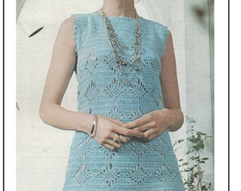 1970s Crochet Shift Dress Pattern -  PDF Instant Download