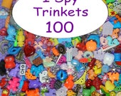 "SMALL TRINKETS (100) for I spy bags, I spy bottles, sensory bins, games, teaching, 1"" toys, tiny toys, small toys, No Duplicates!"