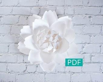 Paper Flower Template PDF, DIY Flower, DIY Decor, Large Paper Flower Backdrop, Paper Peony, Nursery Decor, Wedding Decor, Party Decor