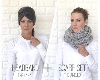 Knit Cinched Earwarmer Headband + Chunky Crochet Ribbed Infinity Scarf Set  | charcoal grey gray | TheLana /The Anello | Ready To Ship!