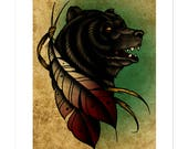 Bear and Feathers, Neo-Traditional Tattoo Flash, Old School, Art Print 12x16