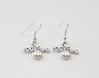 Volleyball Earrings, Silver Volleyball earrings, I love Volleyball, VolleyballJewelry, Volleyball Gifts, Volleyball jewellery