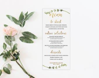 Floral Wedding Menu, Printed Wedding Menu, Leaf Wedding Menu, Real Gold Foil, Reception Menu, Wedding Menu, Chic Wedding Menu, Custom Menu