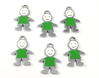 6 little children charms silver tone and enamel, 26mm # CH 385