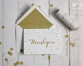 Wedding stationery - x25 wedding thank you cards, metallic gold glitter wedding design (A6)