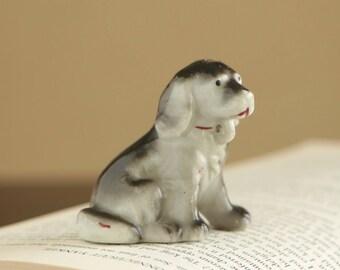Vintage ceramic hound dog figurine / grey dog collectible ceramic puppy made in Japan