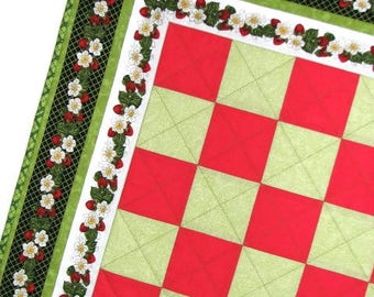 "Summer Quilted Table Topper, Strawberry Table Mat, Square Patchwork Table Mat, Red and Green Table Topper, 24""x24"", Quiltsy Handmade"