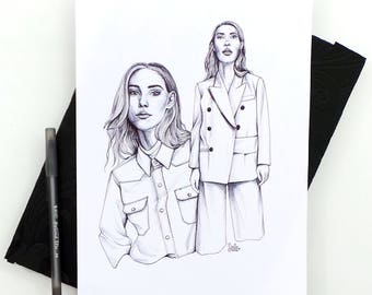 Stylist Issue 302 II Original Ink Drawing / Fashion Illustration / Style Illustration